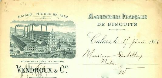 Calais facture biscuiterie vendroux