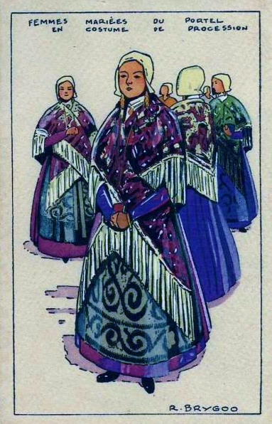 Raoul brygoo femmes mariees en costume de procession le portel