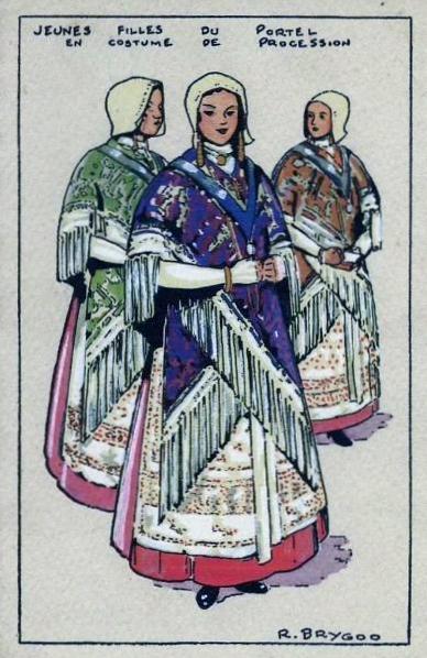 Raoul brygoo jeunes filles en costume de procession le portel